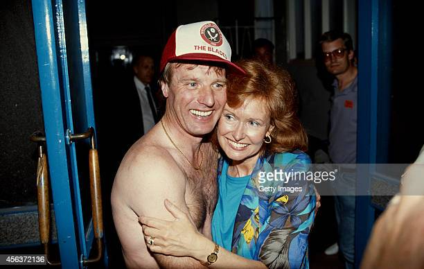 Sheffield United mananger Dave Bassett celebrates after United had beaten Leicester 52 to gain promotion to Division One at Filbert Street on May 5...