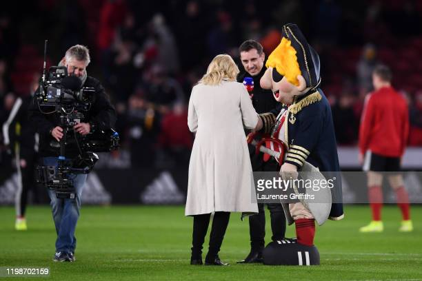 Sheffield United Mascot Captain Blade speaks with Presenters Gary Neville and Kelly Cates ahead of the Premier League match between Sheffield United...
