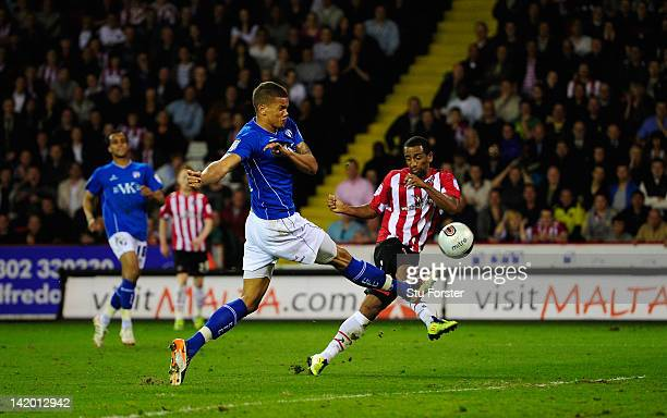 Sheffield United player Lee Williamson scores the opening goal during the npower League One game between Sheffield United and Chesterfield at Bramall...