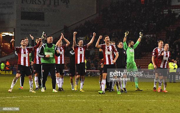 Sheffield United players celebrate victory after the Capital One Cup QuarterFinal match between Sheffield United and Southampton at Bramall Lane on...