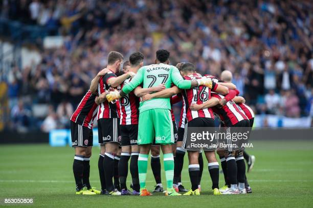 Sheffield United players have a team huddle during the Sky Bet Championship match between Sheffield Wednesday and Sheffield United at Hillsborough on...