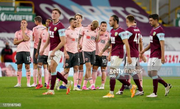 Sheffield United players look dejected following the penalty shoot out during the Carabao Cup second round match between Burnley and Sheffield United...