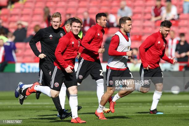Sheffield United players warm up ahead of kick-off during the Sky Bet Championship match between Sheffield United and Bristol City at Bramall Lane on...