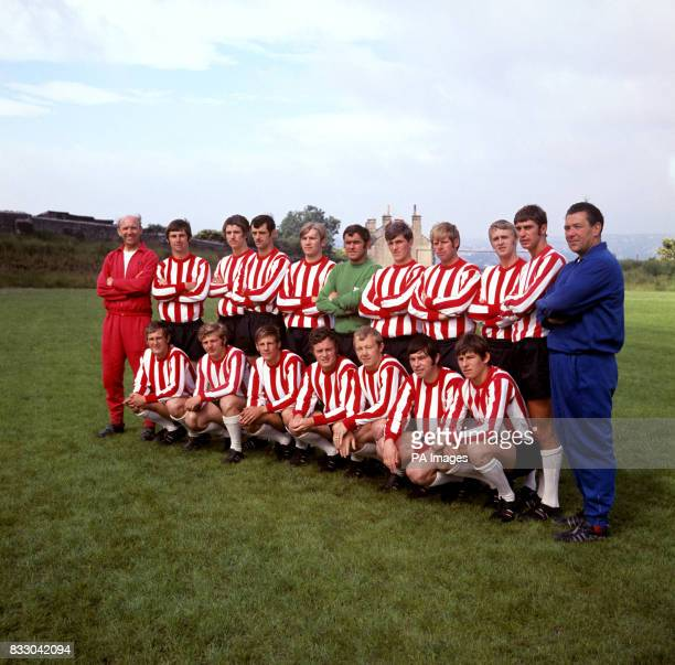 Sheffield United players with manager Arthur Rowley and coach John Short Back Row C Addison M Hill E Colquhoun T Currie A Hodgkinson A Woodward T...