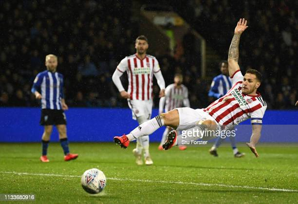Sheffield United striker Billy Sharp narrowly avoids reaching a cross across the goal mouth during the Sky Bet Championship match between Sheffield...