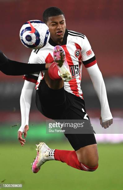 Sheffield United striker Rhian Brewster in action during the Premier League match between Sheffield United and Aston Villa at Bramall Lane on March...