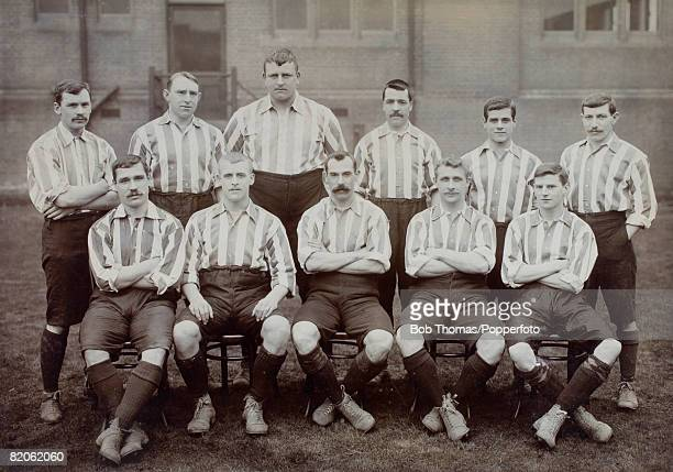 Sheffield United winners of the English FA Cup defeating Southampton 21 in the a replay at the Crystal Palace April 26th 1902 Back row Johnson...