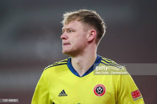 Sheffield United's Aaron Ramsdale during the Premier League match between Sheffield United and Aston Villa at Bramall Lane on March 3, 2021 in...