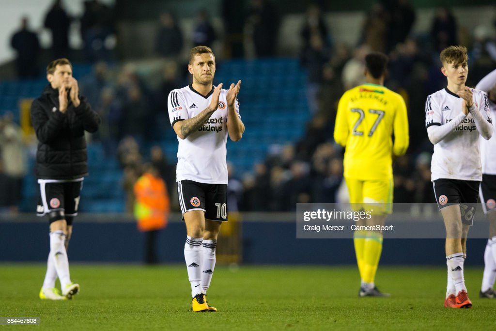 Sheffield United's Billy Sharp applauds the fans at the final whistle during the Sky Bet Championship match between Millwall and Sheffield United at The Den on December 2, 2017 in London, England.