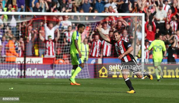 Sheffield United's Billy Sharp celebrates scoring his second and his side's third goal during the Sky Bet Championship match between Sheffield United...
