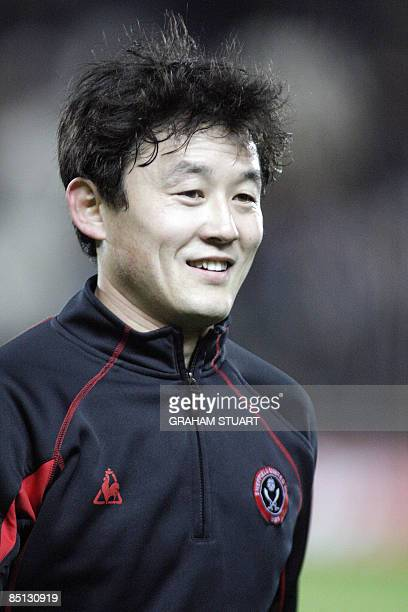 Sheffield United's Chinese defender Sun Jihai smiles before an English FA Cup, fifth round replay, football match with Hull City at the KC Stadium,...