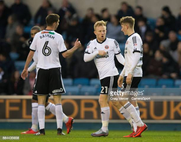 Sheffield United's David Brooks celebrates with team mates after scoring his side's equalising goal to make the score 11 during the Sky Bet...