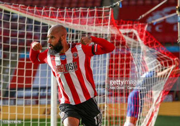 Sheffield United's David McGoldrick celebrates scoring his side's third goal during the Premier League match between Sheffield United and Chelsea FC...