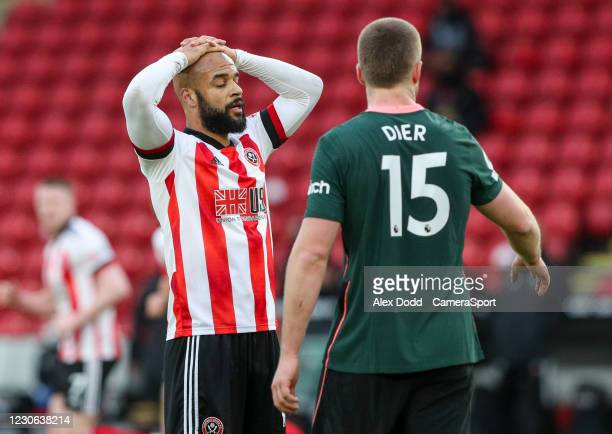 Sheffield United's David McGoldrick reacts after missing a chance during the Premier League match between Sheffield United and Tottenham Hotspur at...