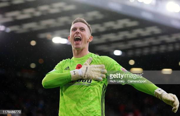 Sheffield United's Dean Henderson celebrates after John Lundstram scored his side's second goal during the Premier League match between Sheffield...