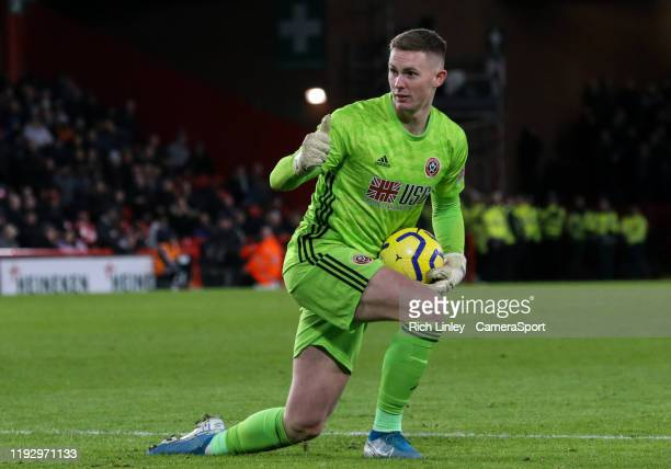 Sheffield United's Dean Henderson during the Premier League match between Sheffield United and West Ham United at Bramall Lane on January 10 2020 in...