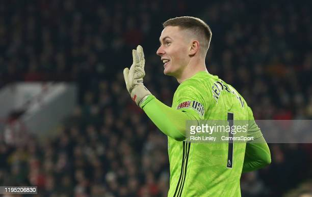 Sheffield United's Dean Henderson during the Premier League match between Sheffield United and Manchester City at Bramall Lane on January 21, 2020 in...
