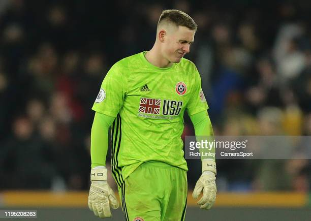 SHEFFIELD ENGLAND JANUARY Sheffield United's Dean Henderson is dejected at the final whistle during the Premier League match between Sheffield United...