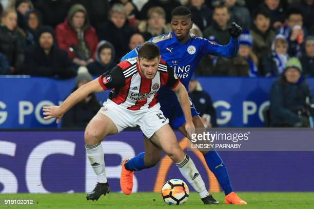 Sheffield United's English defender Jack O'Connell vies with Leicester City's Nigerian striker Kelechi Iheanacho during the English FA Cup fifth...
