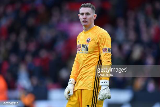 Sheffield United's English goalkeeper Dean Henderson looks on during the English Premier League football match between Sheffield United and Brighton...