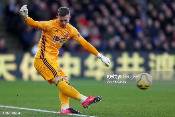 Sheffield United's English goalkeeper Dean Henderson takes a goal kick during the English Premier League football match between Crystal Palace and...
