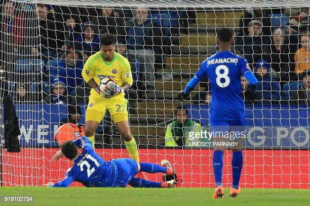 Sheffield United's English goalkeeper Jamal Blackman saves a shot from Leicester City's Spanish midfielder Vicente Iborra during the English FA Cup...