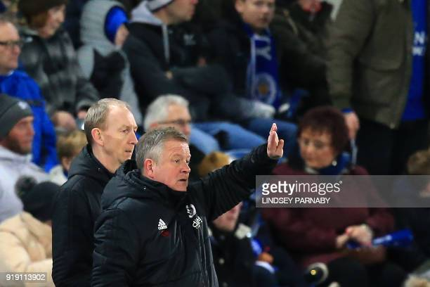 Sheffield United's English manager Chris Wilder gestures during the English FA Cup fifth round football match between Leicester City and Sheffield...