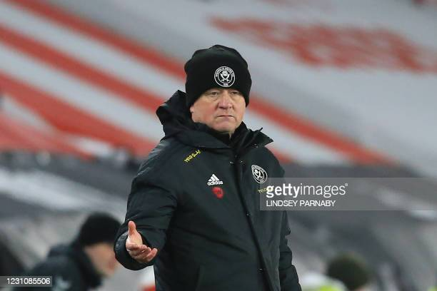 Sheffield United's English manager Chris Wilder gestures from the side-lines during the FA Cup fifth round football match between Sheffield United...