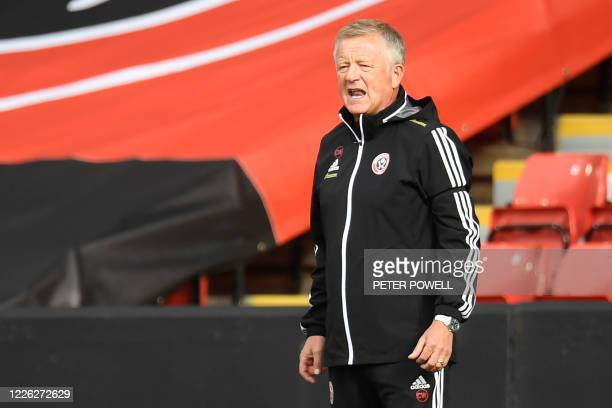 Sheffield United's English manager Chris Wilder gestures on the touchline during the English Premier League football match between Sheffield United...