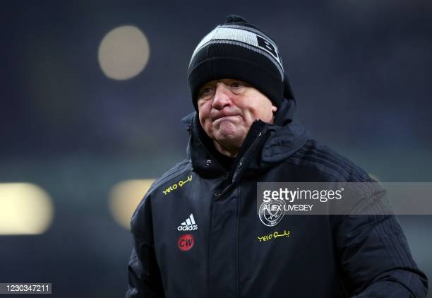 Sheffield United's English manager Chris Wilder leaves the field at half time during the English Premier League football match between Burnley and...