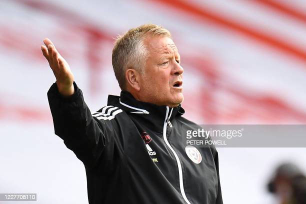 Sheffield United's English manager Chris Wilder reacts during the English Premier League football match between Sheffield United and Everton at...