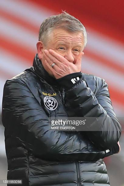 Sheffield United's English manager Chris Wilder reacts during the English Premier League football match between Sheffield United and Southampton at...