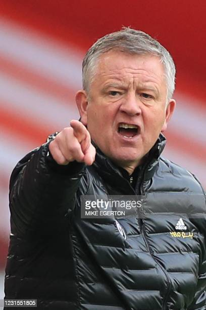Sheffield United's English manager Chris Wilder reacts on the touchline during the English Premier League football match between Sheffield United and...