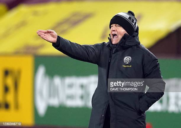 Sheffield United's English manager Chris Wilder shouts during the English Premier League football match between Burnley and Sheffield United at Turf...
