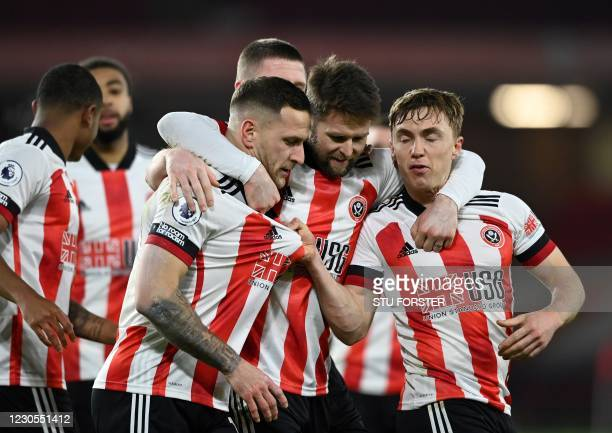 Sheffield United's English striker Billy Sharp celebrates scoring the opening goal during the English Premier League football match between Sheffield...
