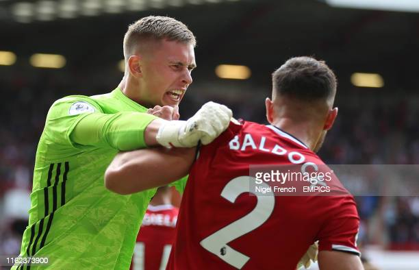 Sheffield United's George Baldock and Dean Henderson celebrate after the final whistle Sheffield United v Crystal Palace Premier League Bramall Lane