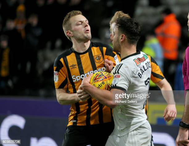Sheffield United's George Baldock and Hull City's Sebastian Larsson square up during the Sky Bet Championship match between Hull City and Sheffield...