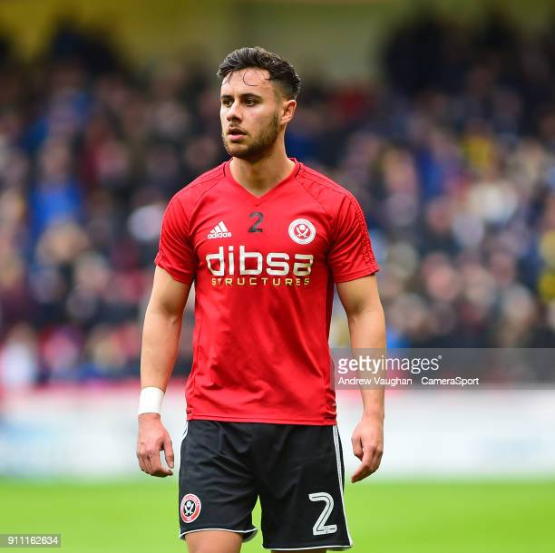 Sheffield United's George Baldock during the prematch warmup prior to the The Emirates FA Cup Fourth Round match between Sheffield United and Preston...