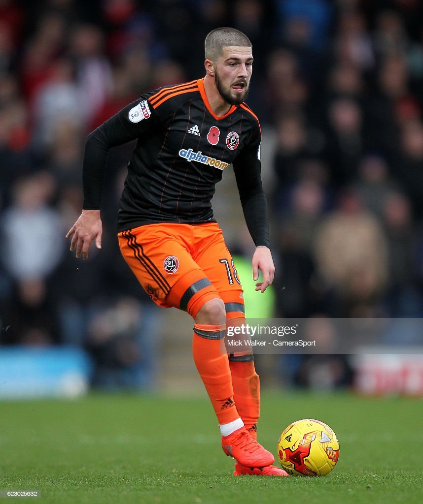 Sheffield United's Kieron Freeman during the Sky Bet League One match between Chesterfield and Sheffield United at Proact Stadium on November 13, 2016 in Chesterfield, England.