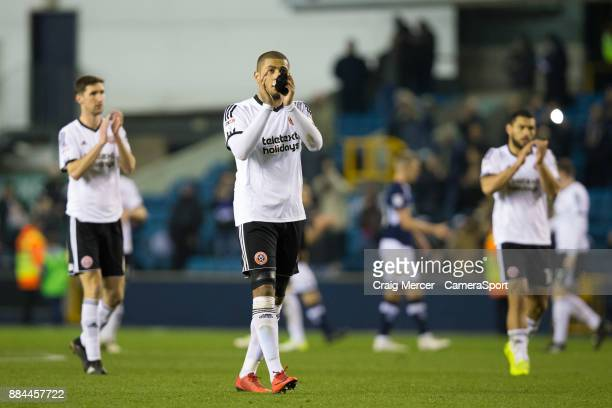 Sheffield United's Leon Clarke applauds the fans at the final whistle during the Sky Bet Championship match between Millwall and Sheffield United at...