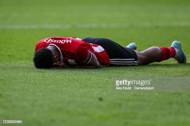Sheffield United's Lys Mousset reacts after missing a chance during the Premier League match between Sheffield United and Chelsea FC at Bramall Lane...