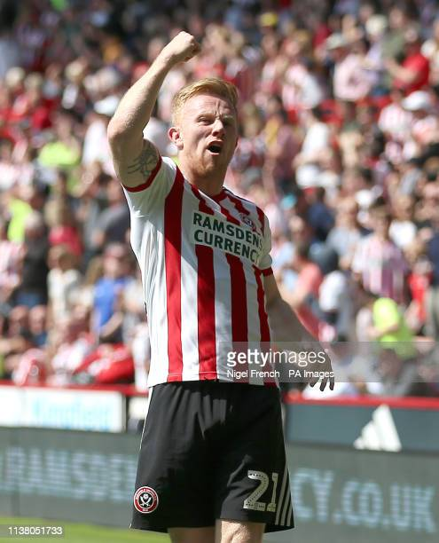 Sheffield United's Mark Duffy celebrates scoring his side's first goal of the game during the Sky Bet Championship match at Bramall Lane Sheffield