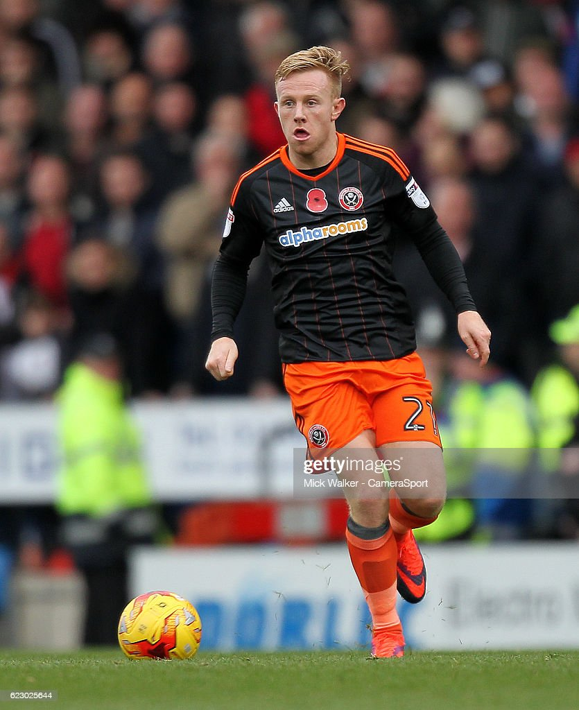 Sheffield United's Mark Duffy during the Sky Bet League One match between Chesterfield and Sheffield United at Proact Stadium on November 13, 2016 in Chesterfield, England.