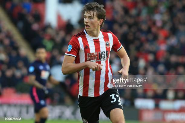 Sheffield United's Norwegian midfielder Sander Berge looks on during the English Premier League football match between Sheffield United and...