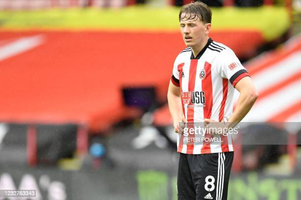 Sheffield United's Norwegian midfielder Sander Berge looks on during the English Premier League football match between Sheffield United and Crystal...