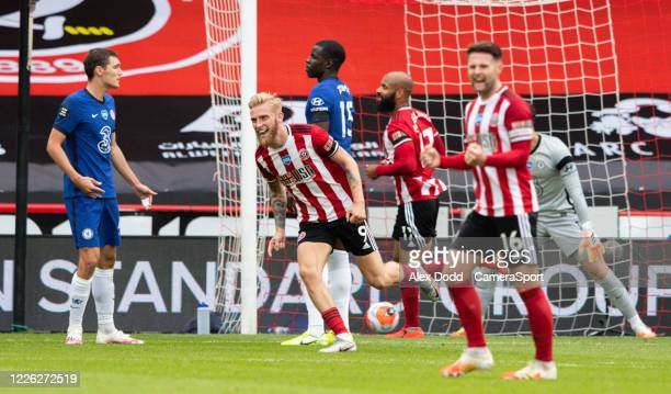 Sheffield United's Oliver McBurnie celebrates scoring his side's second goal during the Premier League match between Sheffield United and Chelsea FC...