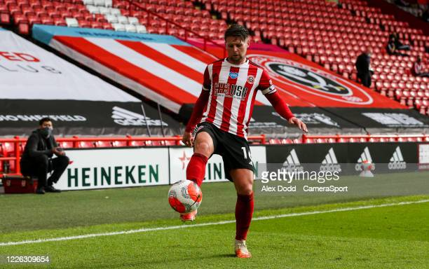 Sheffield United's Oliver Norwood in action during the Premier League match between Sheffield United and Chelsea FC at Bramall Lane on July 11, 2020...