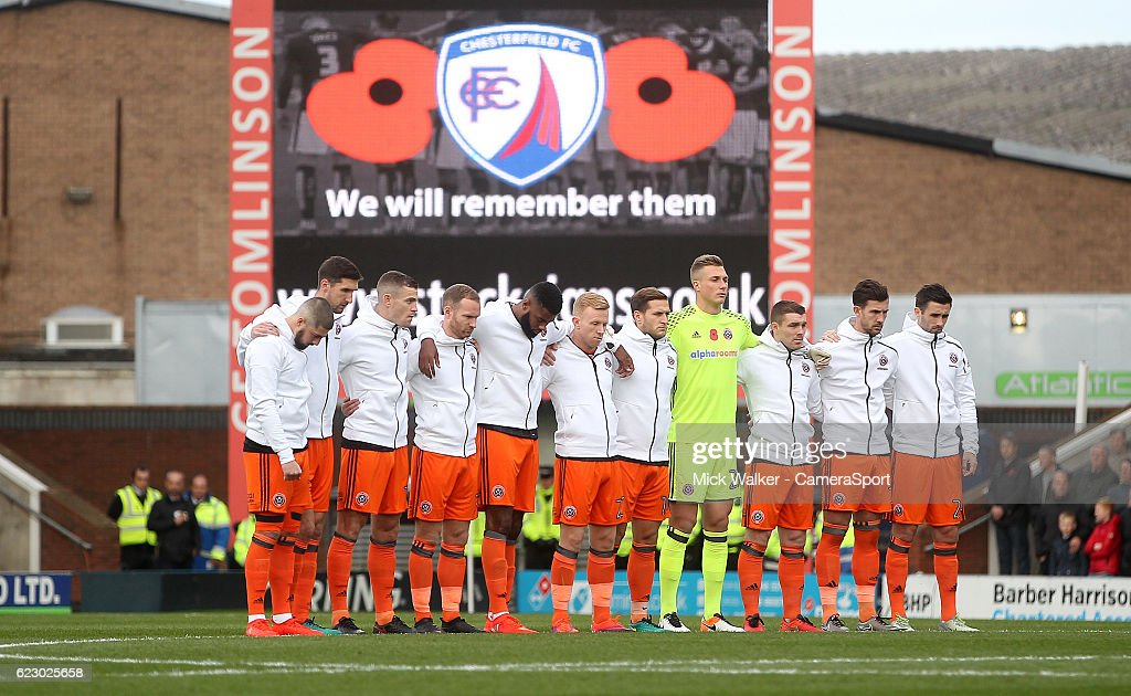 Sheffield United's players line up for a minutes silence during the Sky Bet League One match between Chesterfield and Sheffield United at Proact Stadium on November 13, 2016 in Chesterfield, England.