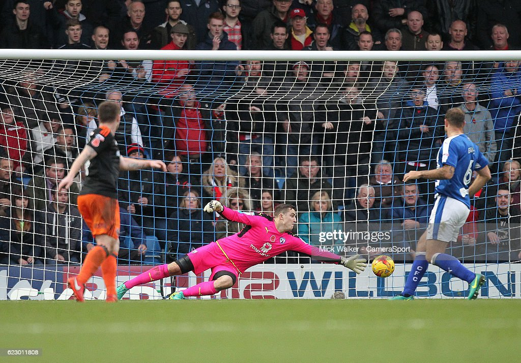 Sheffield United's Ryan Fulton scores his sides second goal beating Chesterfield's Ryan Fulton during the Sky Bet League One match between Chesterfield and Sheffield United at Proact Stadium on November 13, 2016 in Chesterfield, England.