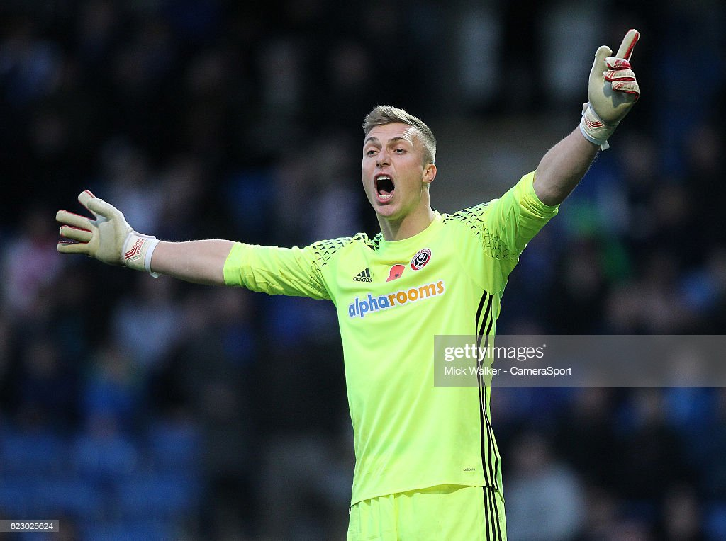 Sheffield United's Simon Moore during the Sky Bet League One match between Chesterfield and Sheffield United at Proact Stadium on November 13, 2016 in Chesterfield, England.